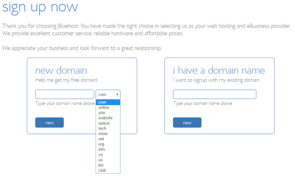 Selecting a new domain, or using a current domain.