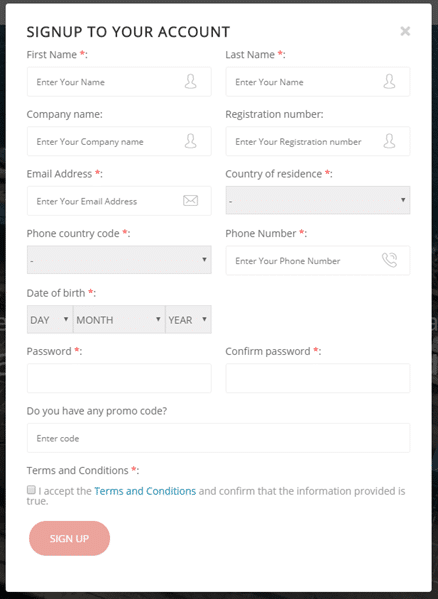 Account Registration form