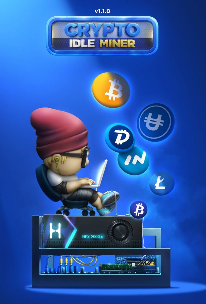 Crypto Idle Miner Welcome Screen. Earn real cryptocurrency from playing games!