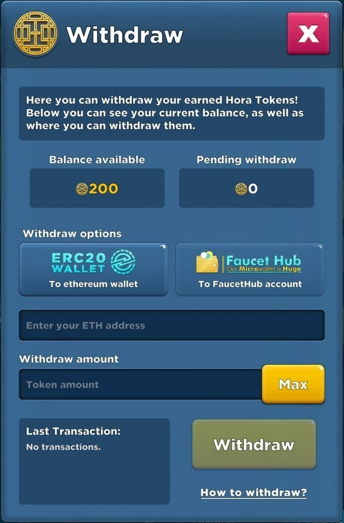 Crypto Idle Miner - Withdrawal of Tokens