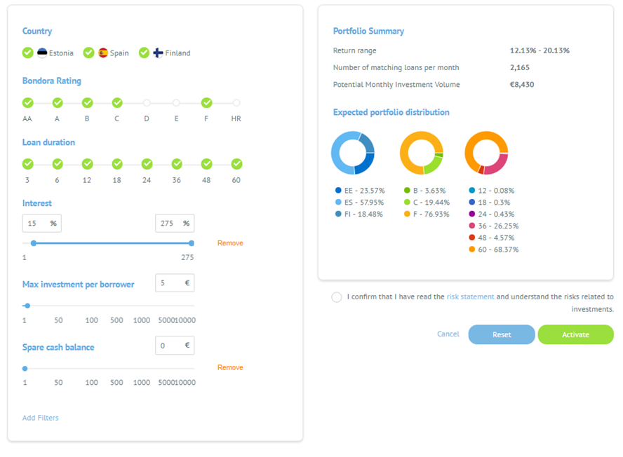 The Automatic Investment tool from Bondora. Portfolio Pro.