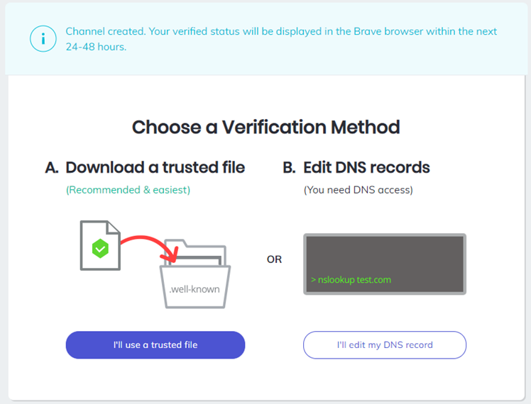 Verification of website for brave browser