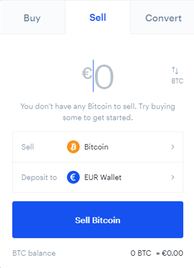 Selling Bitcoin (BTC) to Euro through Coinbase