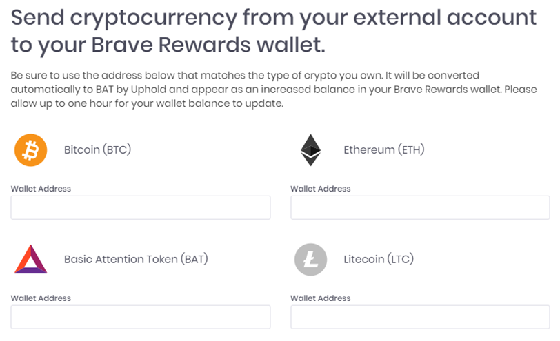 Methods of adding Basic Attention Tokens to your Brave wallet.