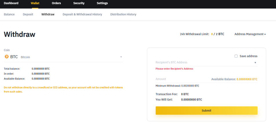Withdrawing Bitcoin (BTC) from the Binance platform.