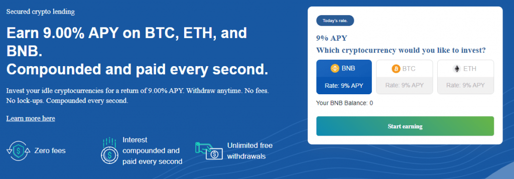 Invest your idle cryptocurrencies for a return of 9.00% APY