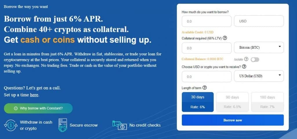 Borrowing coins and cryptocurrency through MyConstant